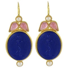 Italian Designer Crystal Pearl Blue Intaglio Vermeil Drop Earrings