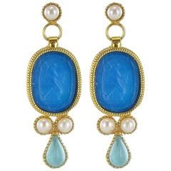 Italian Designer Crystal Pearl Intaglio Vermeil Drop Earrings