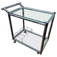 Italian Designer Glass and Chrome Drinks Trolley or Bar Cart