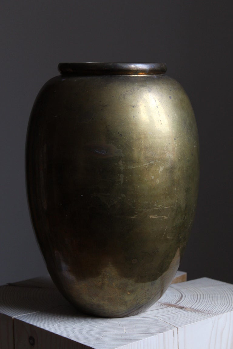 Mid-Century Modern Italian Designer, Large Modernist Vase, Solid Brass, C. 1950s For Sale