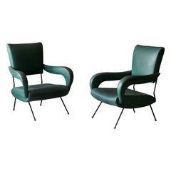 Italian Designer, Lounge Chairs, Lacquered Metal, Green-Dyed Vinyl, Italy, 1950s