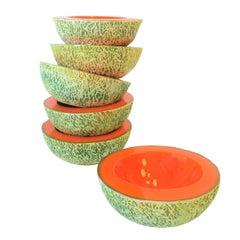 Italian Designer Matte Ceramic Pottery Orange Melon Fruit Sculpture Bowls