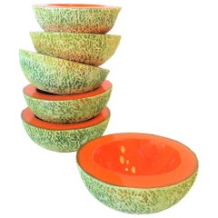 Italian Designer Matte Ceramic Pottery Orange Melon Fruit Sculpture Bowls, Set