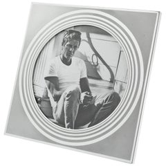 Italian Designer MB Modernist Frosted Silver Aluminum Picture Photo Frame