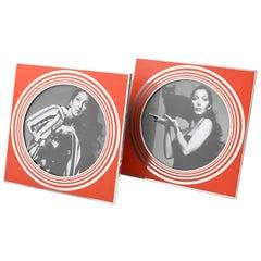 Italian Designer MB Modernist Silver & Red Enamel Aluminum Picture Photo Frame