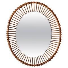 Italian Designer, Mirror, Bambo, Cane, Mirror Glass, Italy, 1960s