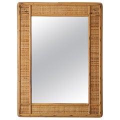 Italian Designer, Mirror, Bamboo, Cane, Mirror Glass, Italy, 1950s