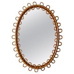 Italian Designer, Mirror, Bamboo, Rattan, Mirror Glass, Italy, 1950s
