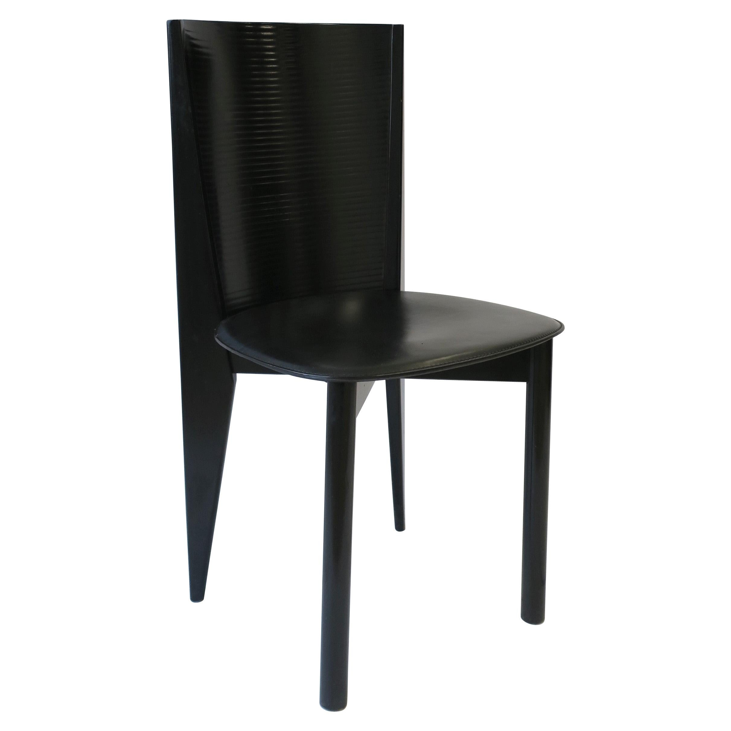 Italian Designer Postmodern Black Lacquer Wood and Leather Side Chair