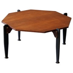 Italian Designer, Modernist Coffee Table, Teak, Lacquered Metal, Italy, 1950s