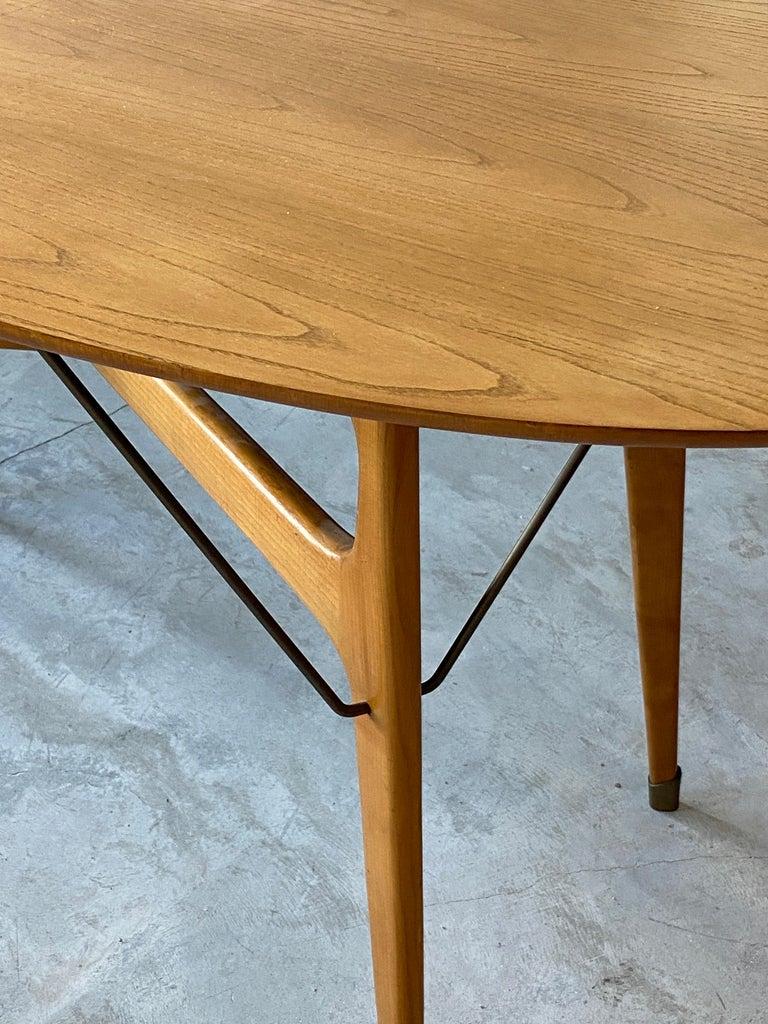Mid-20th Century Italian Designer, Modernist Dinette Table, Light Beech, Brass, Italy, 1950s For Sale