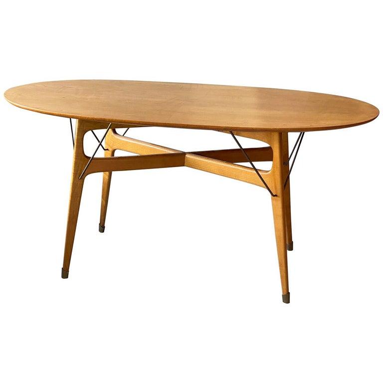 Italian Designer, Modernist Dinette Table, Light Beech, Brass, Italy, 1950s For Sale