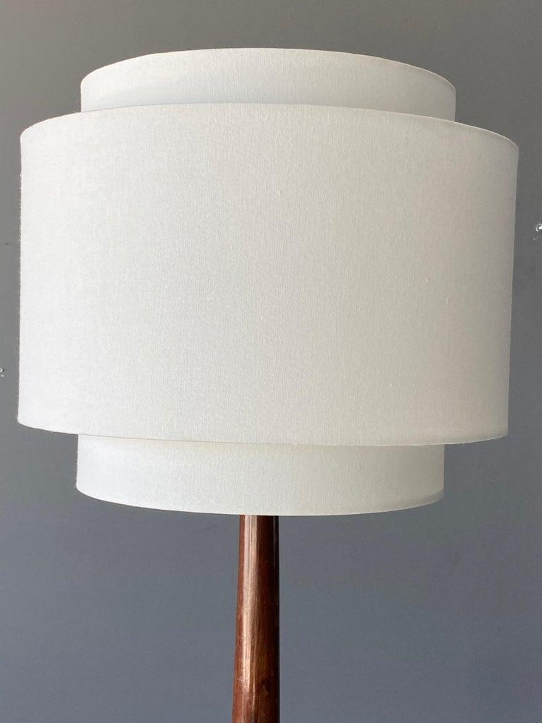 Mid-Century Modern Italian Designer, Modernist Floor Lamp, Mahogany, Brass Fabric, Italy, 1940s For Sale