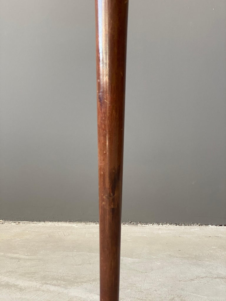 Italian Designer, Modernist Floor Lamp, Mahogany, Brass Fabric, Italy, 1940s For Sale 1