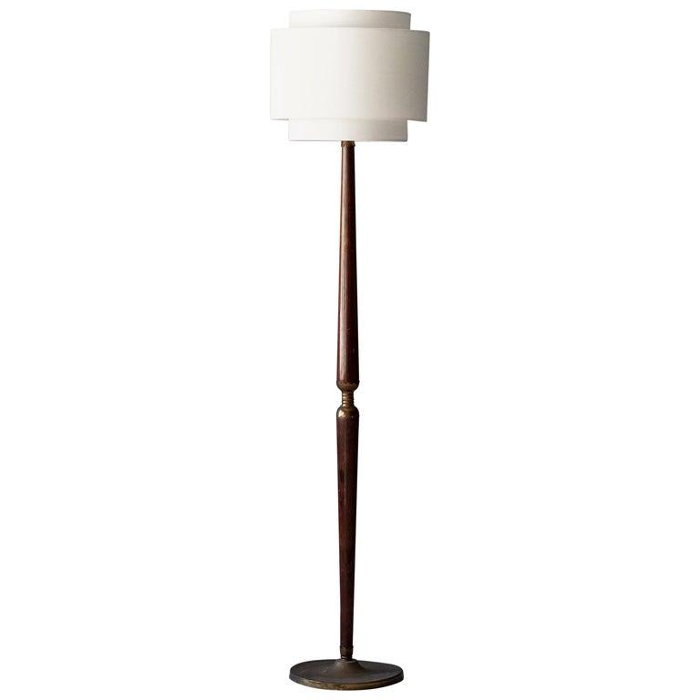 Italian Designer, Modernist Floor Lamp, Mahogany, Brass Fabric, Italy, 1940s For Sale