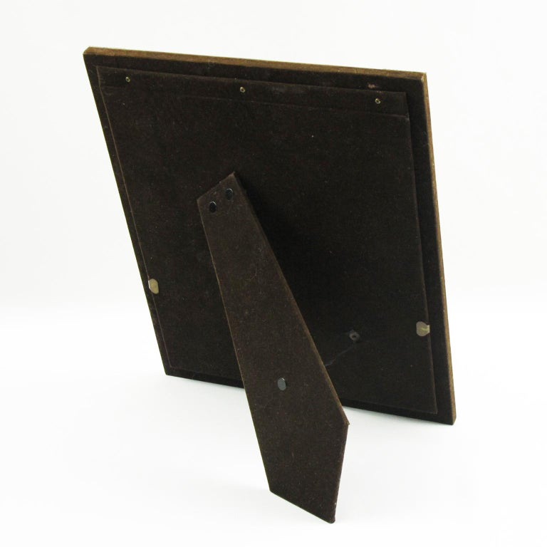 Mid-Century Modern Italian Designer Noel B.C. 1970s Modernist Brass Picture Photo Frame For Sale