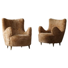 Italian Designer, Organic Lounge Chairs, Beige Sheepskin, Gilded Wood, 1940s