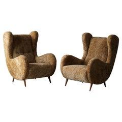 Italian Designer, Organic Lounge Chairs, Beige Sheepskin, Wood, 1950s
