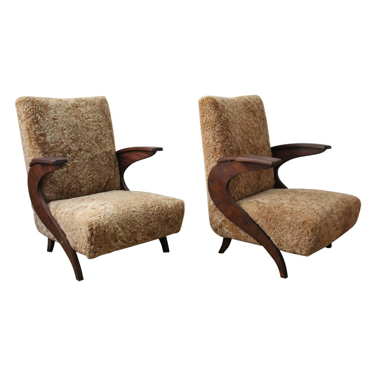 Italian Designer, Organic Lounge Chairs, Sheepskin, Stained Wood, Italy, 1940s For Sale