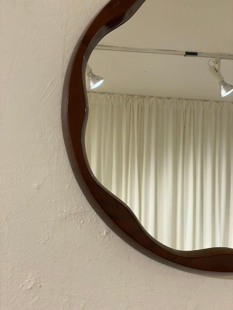 Mid-Century Modern Italian Designer, Organic Modernist Mirror, Walnut, Mirror Glass, Italy, 1950s For Sale