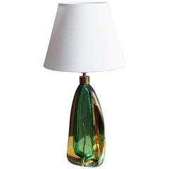 Italian Designer, Organic Table Lamp, Colored Murano Glass, Brass, 1960s