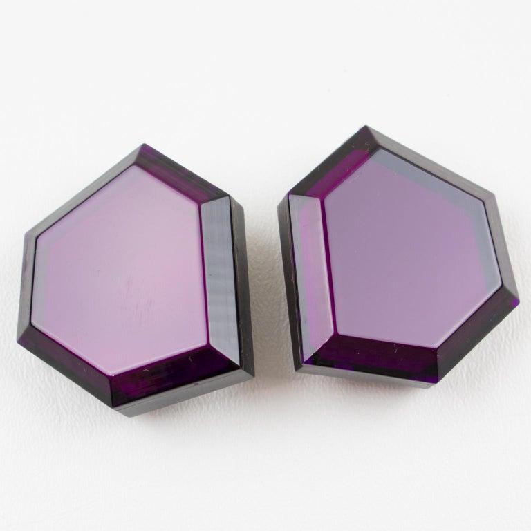Modernist Italian Designer Oversized Geometric Intense Purple Lucite Clip Earrings