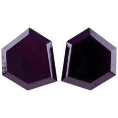 Italian Designer Oversized Geometric Intense Purple Lucite Clip Earrings