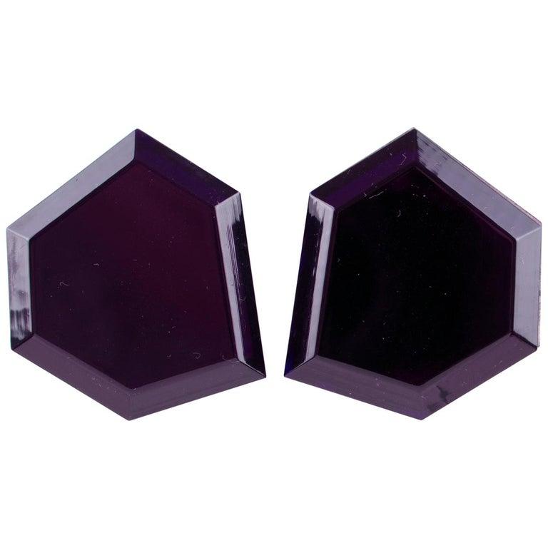Italian Designer Oversized Geometric Intense Purple Lucite Clip Earrings