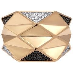 Italian Designer Rococo Baroque Style Rose Gold 14 Karat Statement Ring for Her