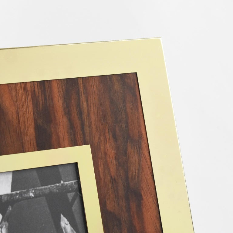 Late 20th Century Italian Designer Signed Modernist Aluminium and Wood Picture Photo Frame For Sale