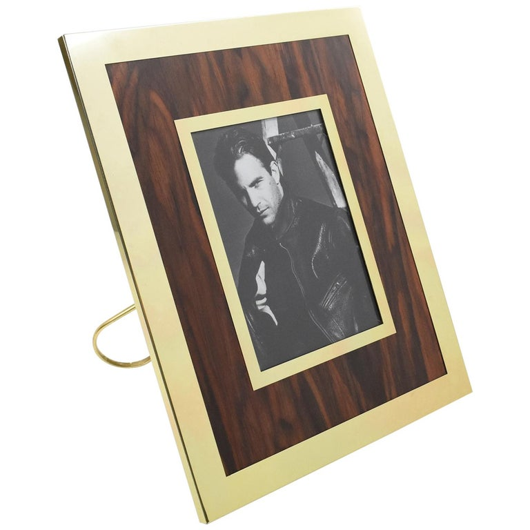 Italian Designer Signed Modernist Aluminium and Wood Picture Photo Frame For Sale