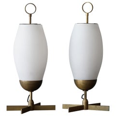 Italian Designer, Sizable Table Lamps, Brass, Fogged Glass, Italy, 1950s