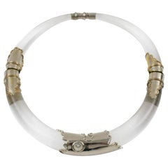 Silvered Metal and Lucite Futurist Collar Necklace