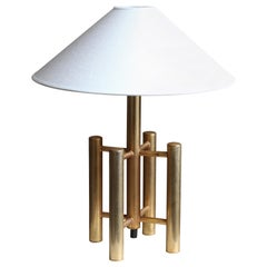 Italian Designer, Table Lamp, Brass, Linen, Italy, 1970s
