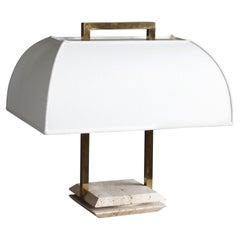 Italian Designer, Table Lamp, Brass, Travertine, White Fabric, Italy, 1970s