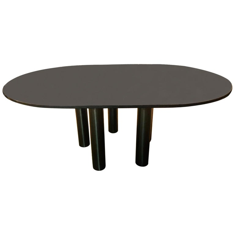 Conference table or dining table with high quality Star Galaxy granite plate oval.  stands on 5 steel columns. ideal for the office or at home as a dining table. some scratches on the plate Signed Zanotta Italy new price 8900€