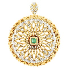 Italian Designer Toliro Emerald and Diamond Convertible 18 Karat Brooch Pendant