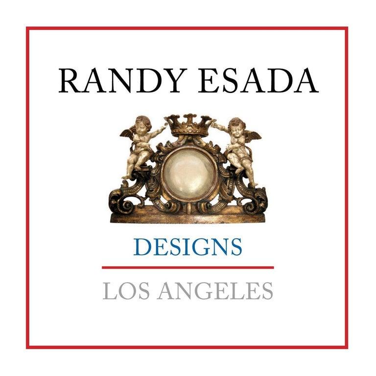 Italian designer Venetian rope table lamp by Randy Esada  White gold giltwood finish.