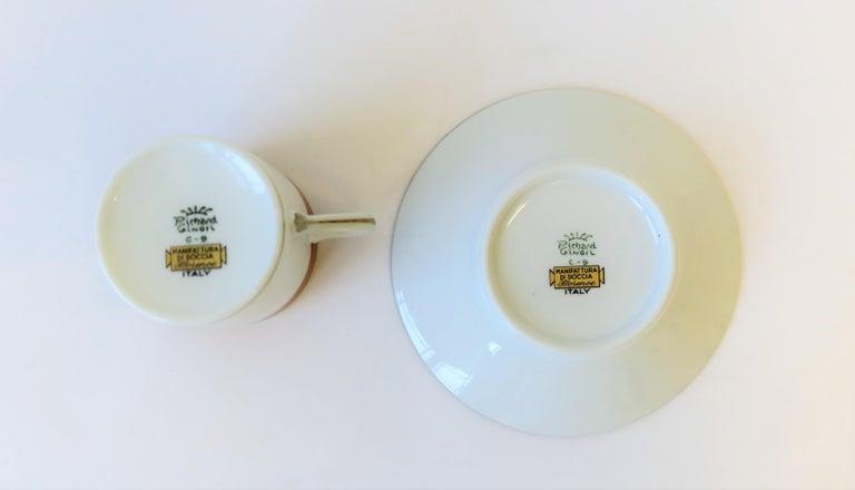 Italian Designer White Gold & Orange Espresso Coffee Cup by Richard Ginori For Sale 5