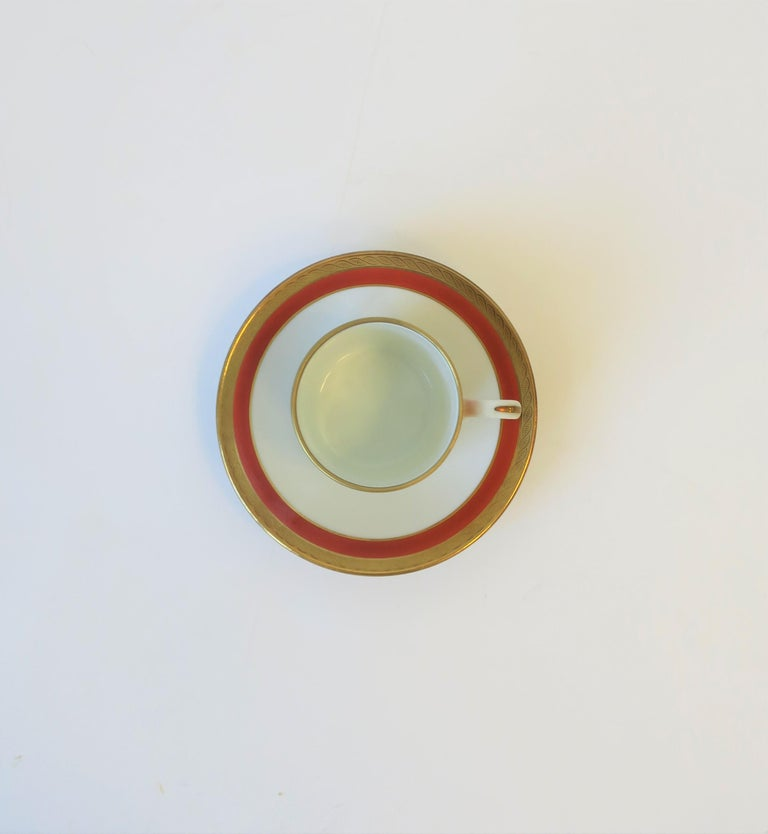 Gilt Italian Designer White Gold & Orange Espresso Coffee Cup by Richard Ginori For Sale