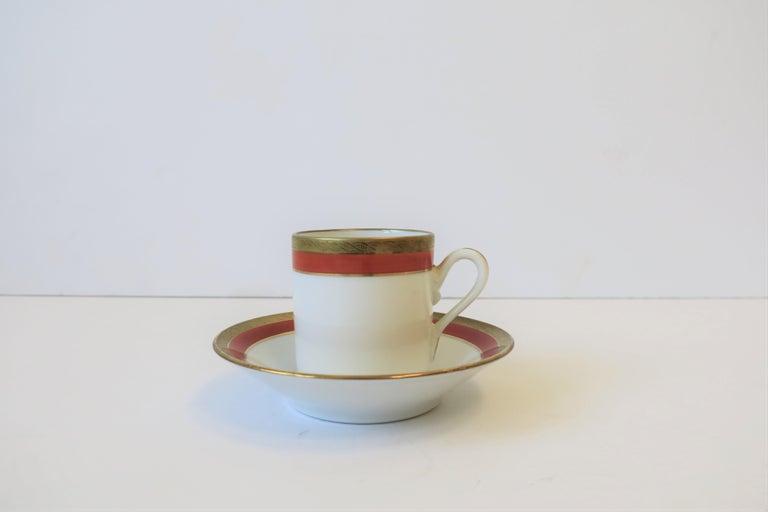 Italian Designer White Gold & Orange Espresso Coffee Cup by Richard Ginori In Excellent Condition For Sale In New York, NY