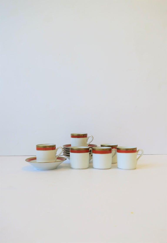 Italian Designer White Gold & Orange Espresso Coffee Cup by Richard Ginori For Sale 3