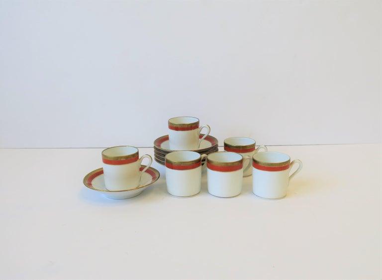 Italian Designer White Gold & Orange Espresso Coffee Cup by Richard Ginori For Sale 4