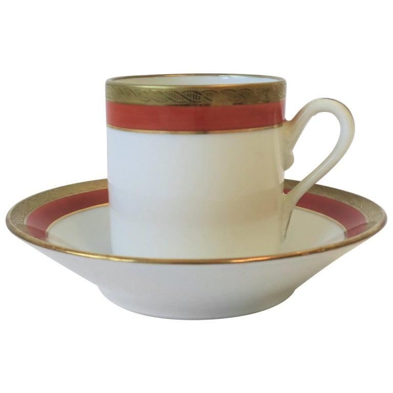 Italian Designer White Gold & Orange Espresso Coffee Cup by Richard Ginori For Sale