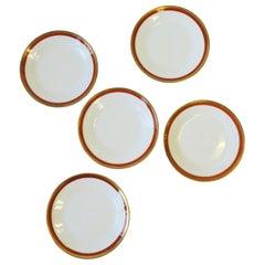 Vintage Designer Richard Ginori Italian White Gold and Orange Plates, Set of 5