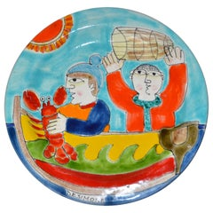 Italian Desimone Hand Painted Art Pottery Round Decor Plate With Lobster Fishing