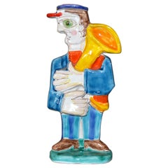 Italian DeSimone Hand Painted Art Pottery Special Order Tuba Player Figure Italy