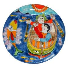 Italian DeSimone Hand Painted Pottery Round Decor Plate Big Fish Fishermen Italy