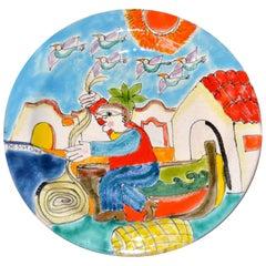 Italian Desimone Hand Painted Pottery Round Decor Plate Fisherman Store Cast Net