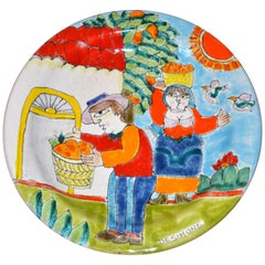 Italian Desimone Hand Painted Pottery Round Decor Plate Orange Picking, Italy